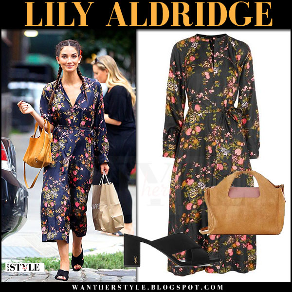 Lily Aldridge in black floral print midi dress isabel marant olympia and black mules saint laurent loulou july 20 2017 celebrity style
