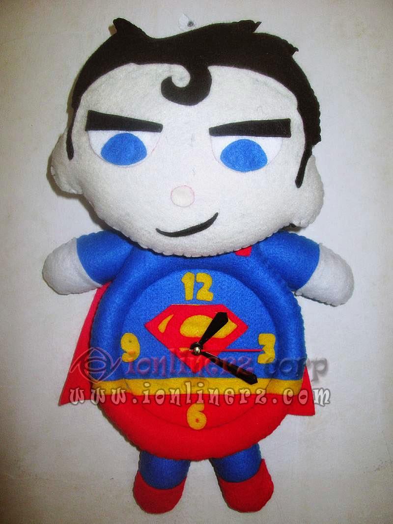 Jam Dinding Flanel Karakter Kartun Boneka Superman