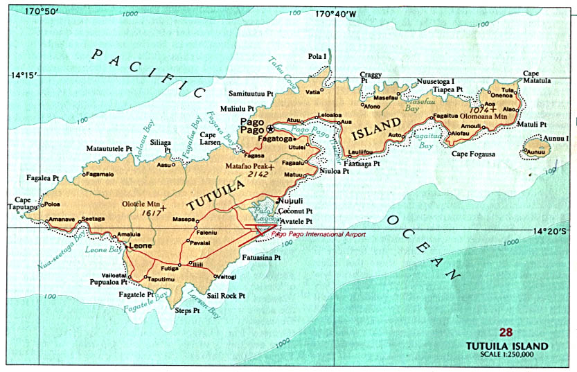 Mapas de Samoa Americana | Estados Unidos da América