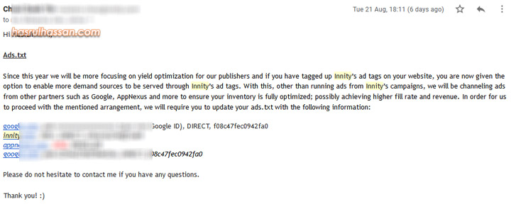 Tutorial Pasang Innity Ads.txt dalam Blogspot