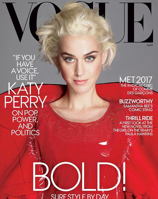Katy Perry sports platinum locks for Vogue May 2017