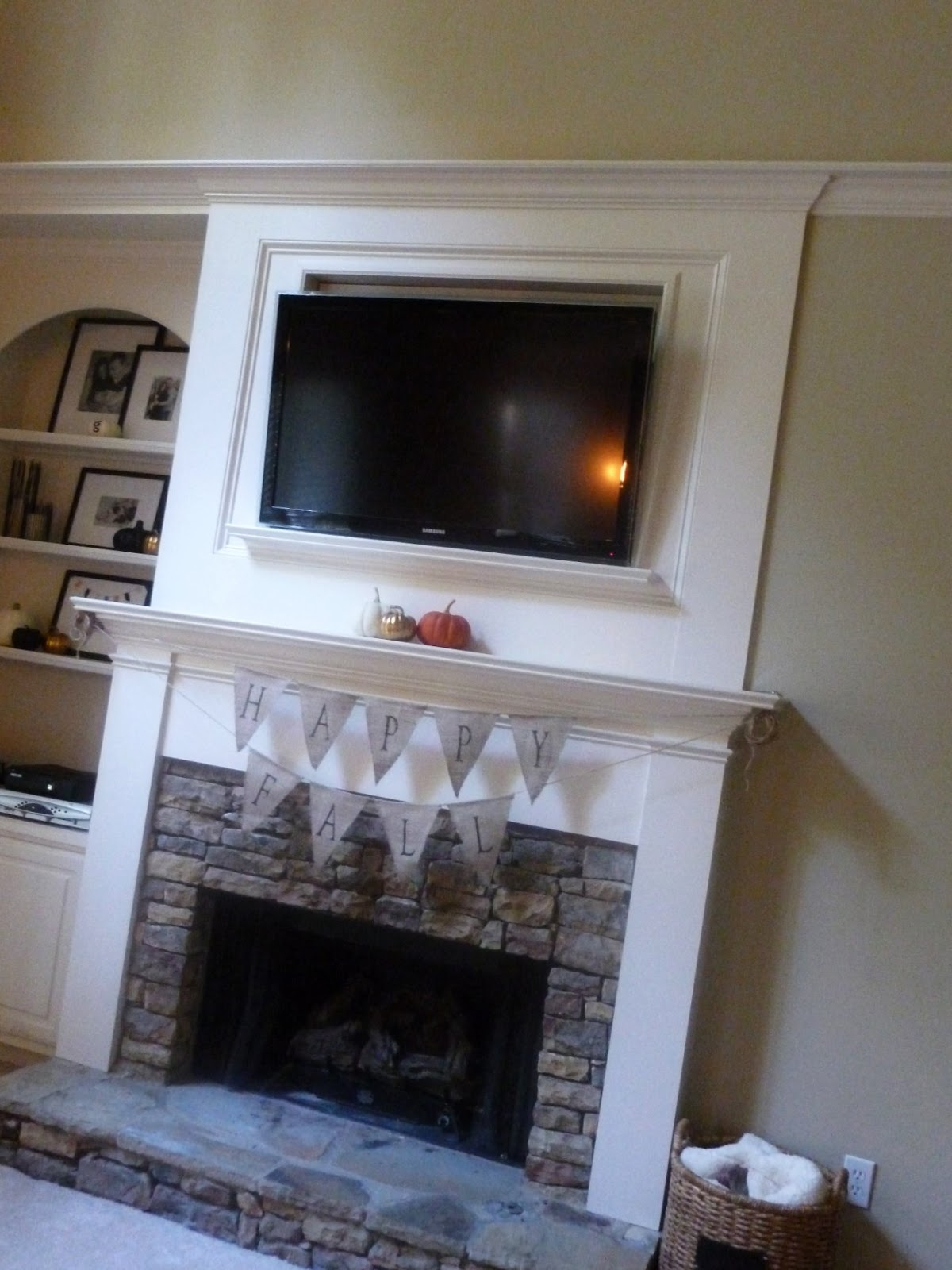 brick with wood trim fireplace | Rooms (& other Home-y ...
