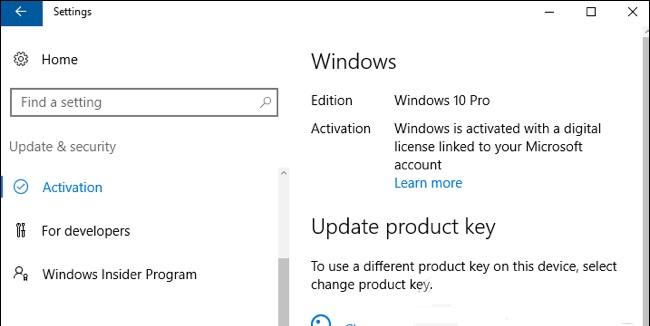 reset product key windows 10