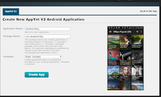 Create New Application AppYet
