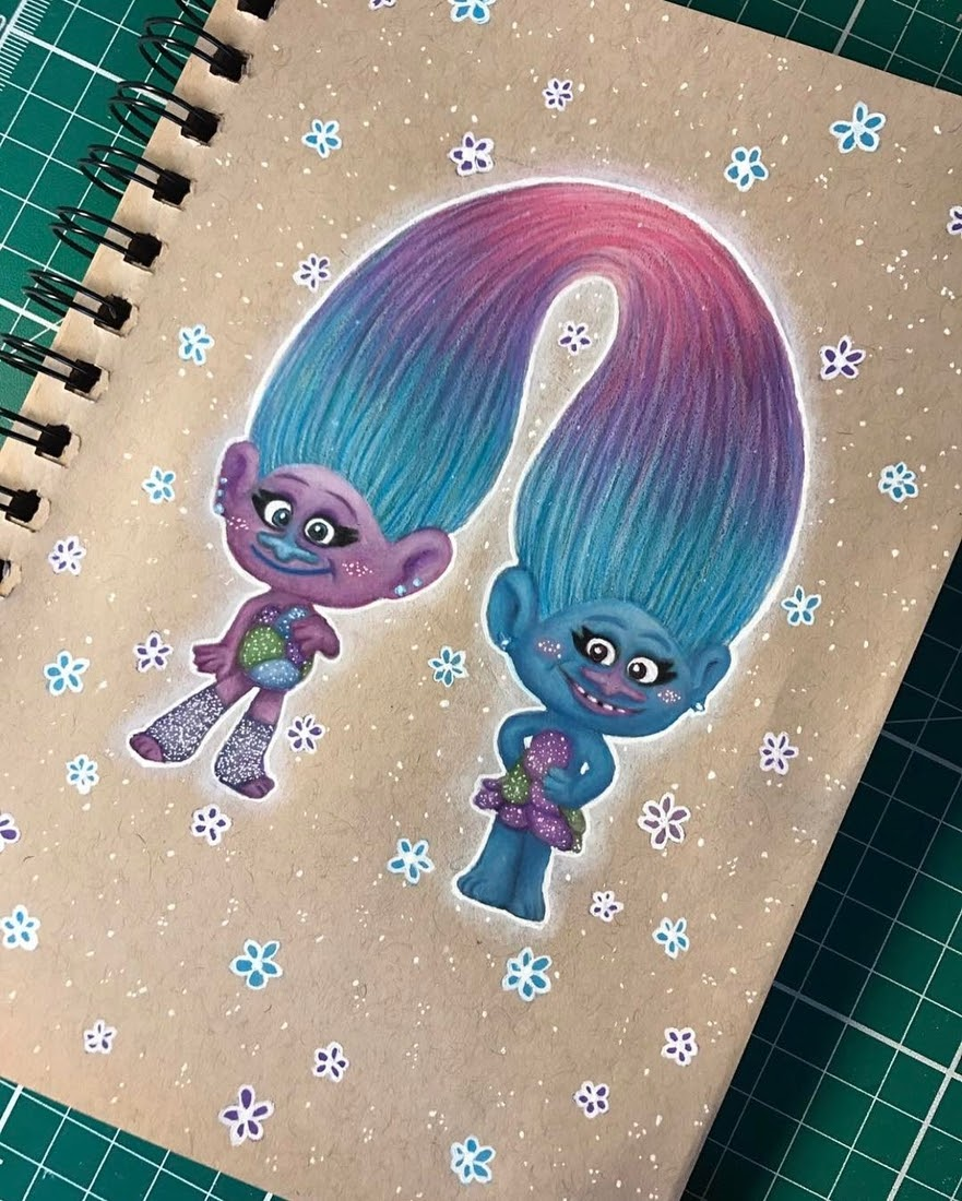 08-Satin-and-Chenille-from-Trolls-Laura-Animated-Characters-Drawings-a-Time-Trip-to-Childhood-www-designstack-co