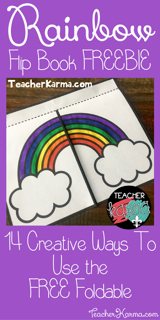 FREE Rainbow Foldable Flip Book Template for your Interactive Notebook TeacherKarma.com