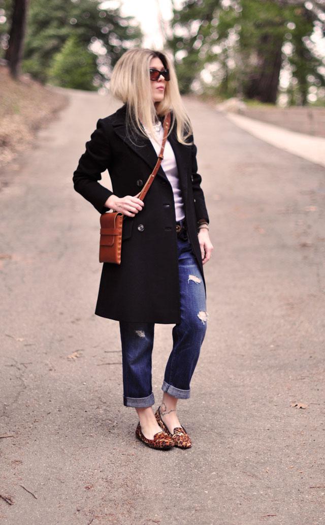 cognac and black, boyfriend jeans, leopard print
