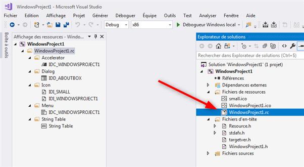 Visual C++ les ressources du projet