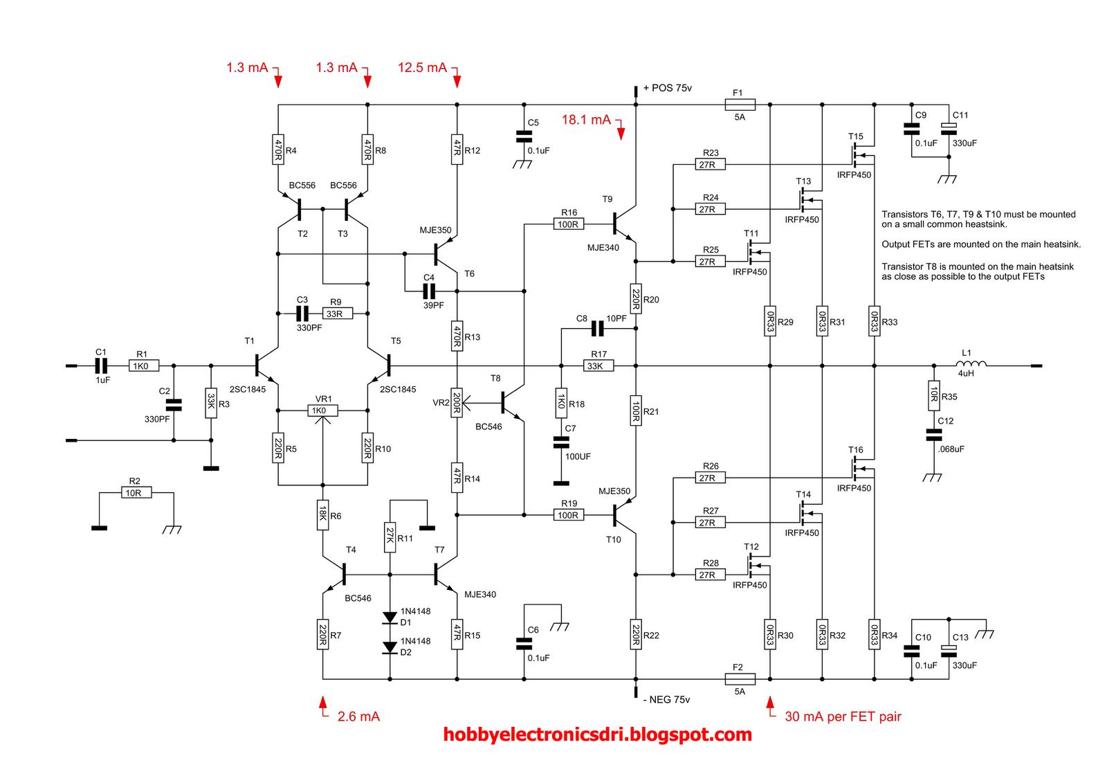 schematic diagram 500 watts amplifier