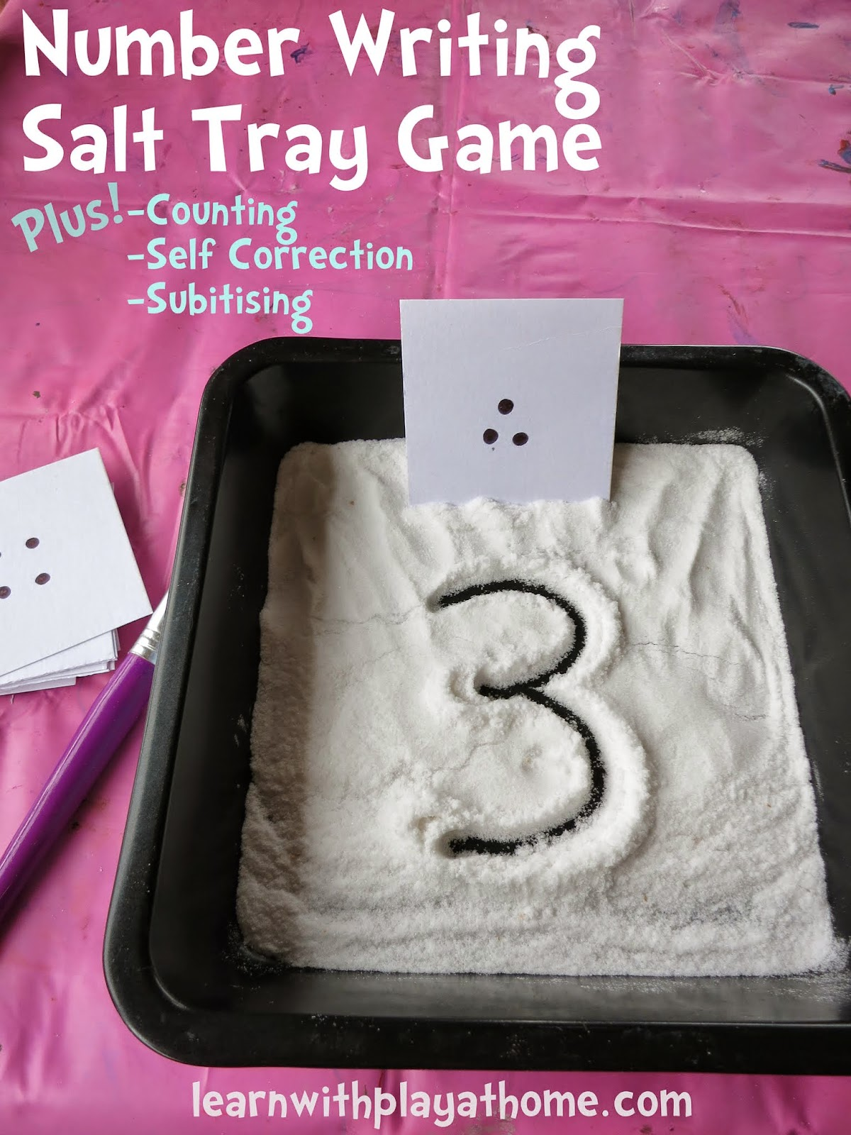 Learn With Play At Home Number Writing Activity Salt Tray Game