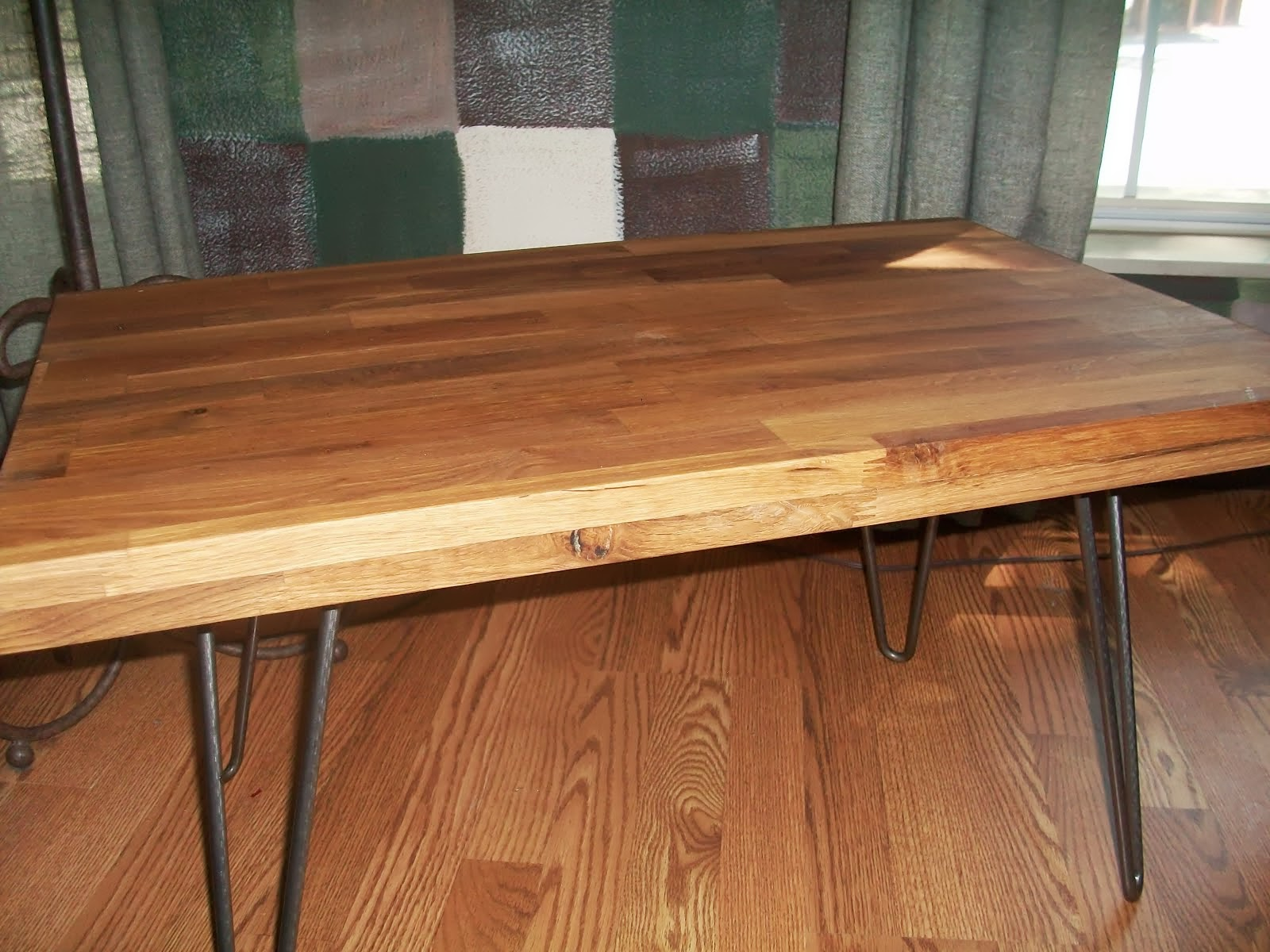 Butcher Block Coffee Table And End