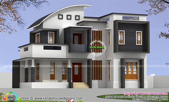2314 sq-ft 4 bhk modern curved roof mix home