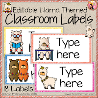 Llama Themed Classroom Labels editable