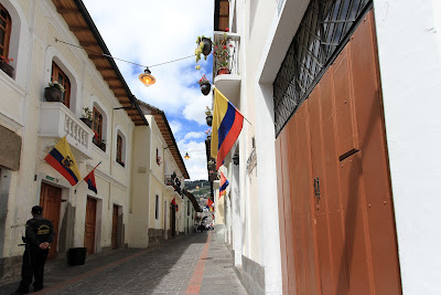 Quito Old Town Street Scene and La Ronda