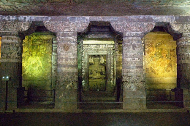 Ajanta cave number one shrine and paintings
