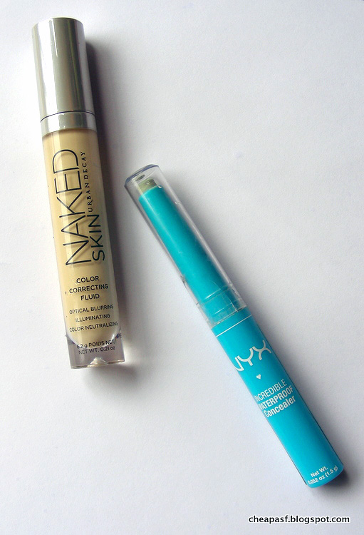 Urban Decay Naked Skin Color Correcting Fluid in Yellow and NYX Incredible Waterproof Concealer in Green