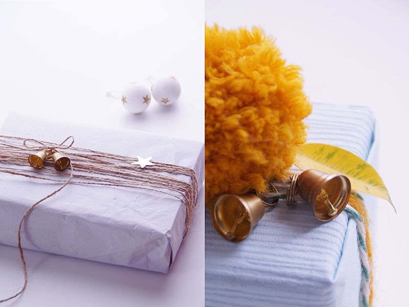 Weihnachtsgeschenke kreativ verpacken mit Seidenpapier, Tapetenmustern, Bommeln, Glöckchen etc.   DIY