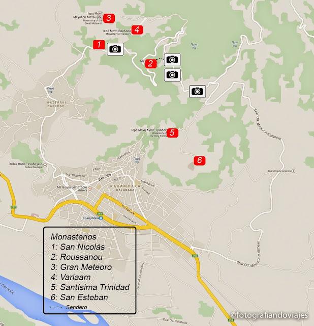 plano monasterios Meteora puntos fotográficos