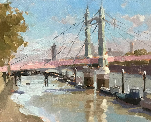 #411 'Autumn Light, Albert Bridge' 24x30cm