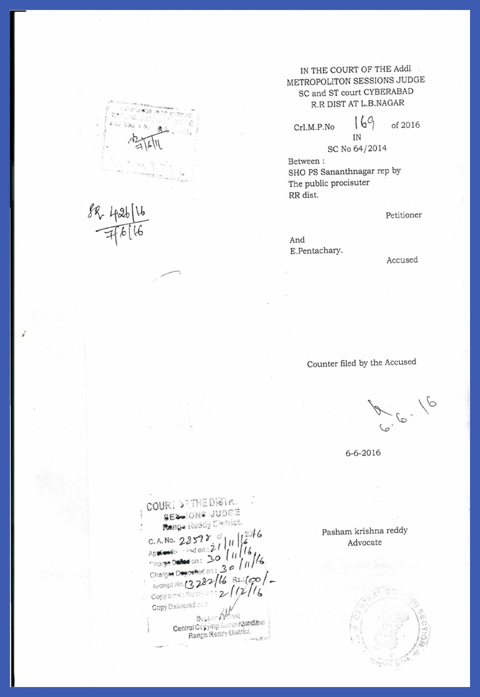 Crl.M.P.169 of 2016 in Filed Counter by the Accused-1