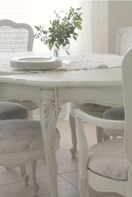 Detail of my vintage French inspired white dining room set - Hello Lovely Studio