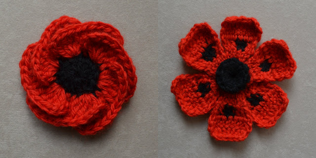 "LEFT: ""Hope Bloom"" by Jenny King after blocking. The six overlapping red petals are arranged evenly and are open to reveal the black centre. RIGHT: ""Oriental Poppy"" by Lesley Stanfield after blocking.  The petals have been opened and the centre has been adjusted to a concave shape. The intentional curl at the outside edges of the petals has been retained."