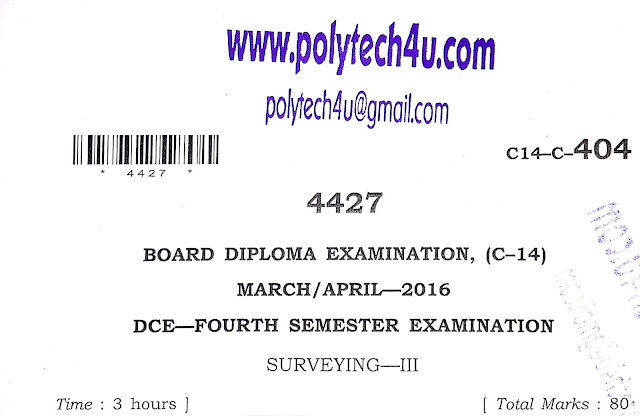 SURVEYING-3 SBTETAP C-14 DCE PREVIOUS QUESTION PAPER