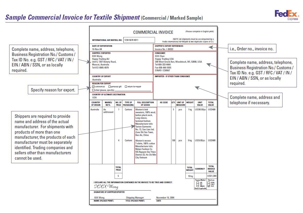 Ups Commercial Invoice Template required shipping forms for ups – Commerical Invoice Template