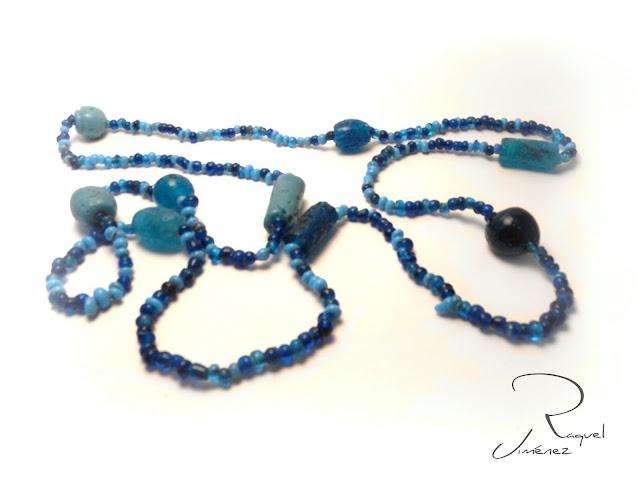 collar largo piedra azul