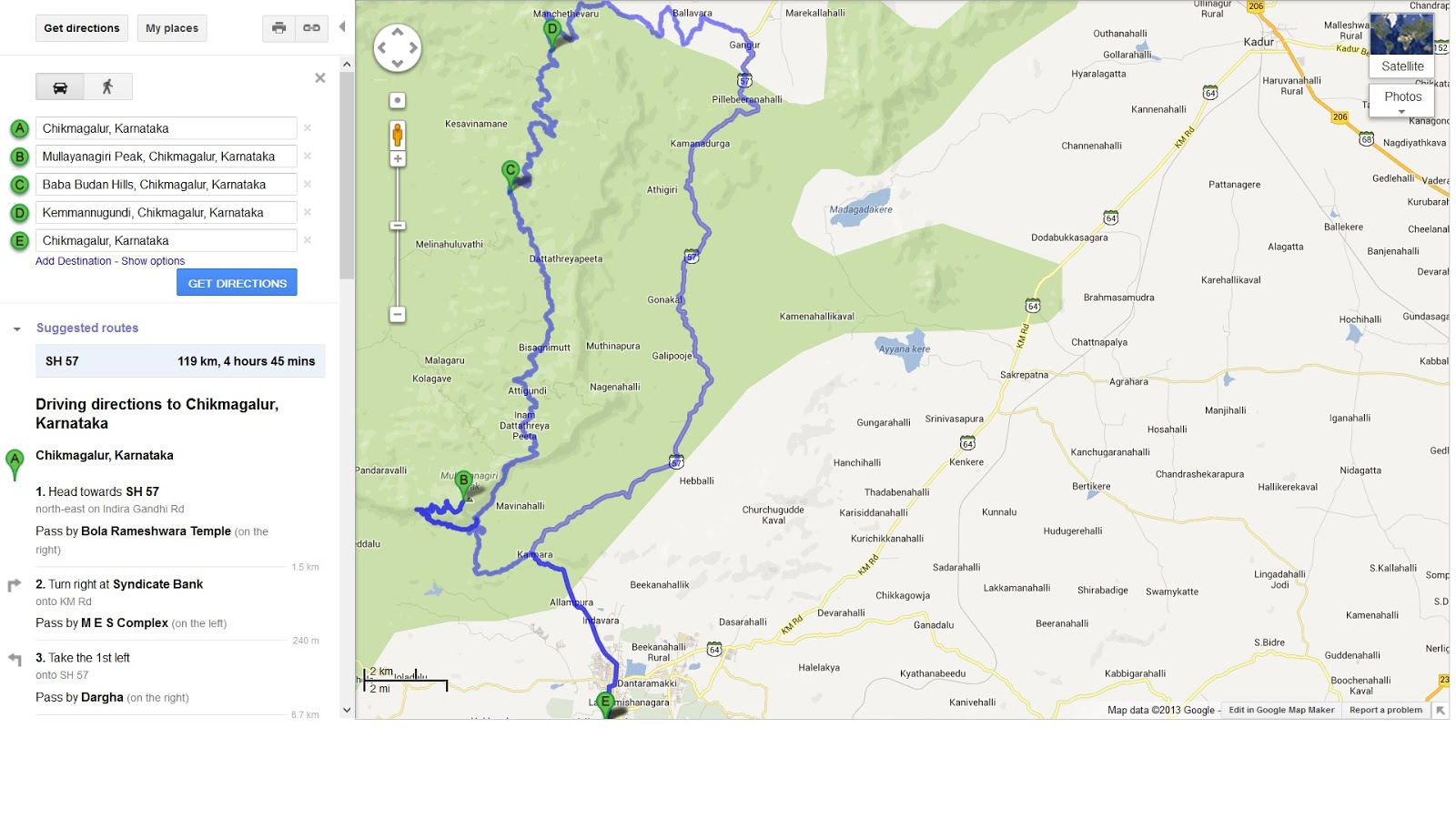 My Life On Two Wheels Bangalore To Chikmangalur Belur Trip By Bike - Chikmagalur map
