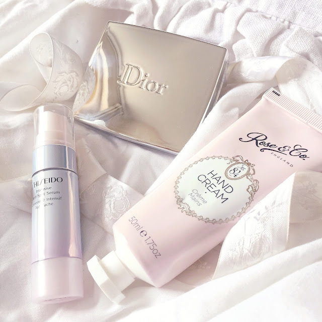 Dior Blush, Shiseido Anti-Spot Serum & Rose & Co. Hand Cream