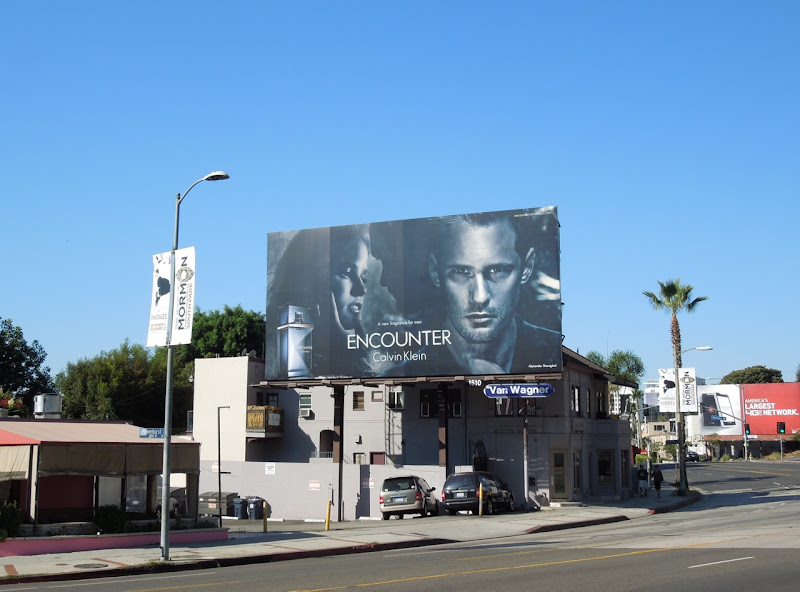 Calvin Klein Encounter fragrance billboard Sunset Boulevard