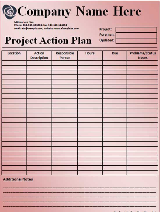 free action plan template - project action plan template