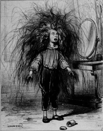 Vintage and disturbing illustration of Enfant Terrible Shockheaded Peter. Peter stands by the mirror with wild, tangled hair. Yule Lads and other stories of Christmas Creepers. marchmatron.com
