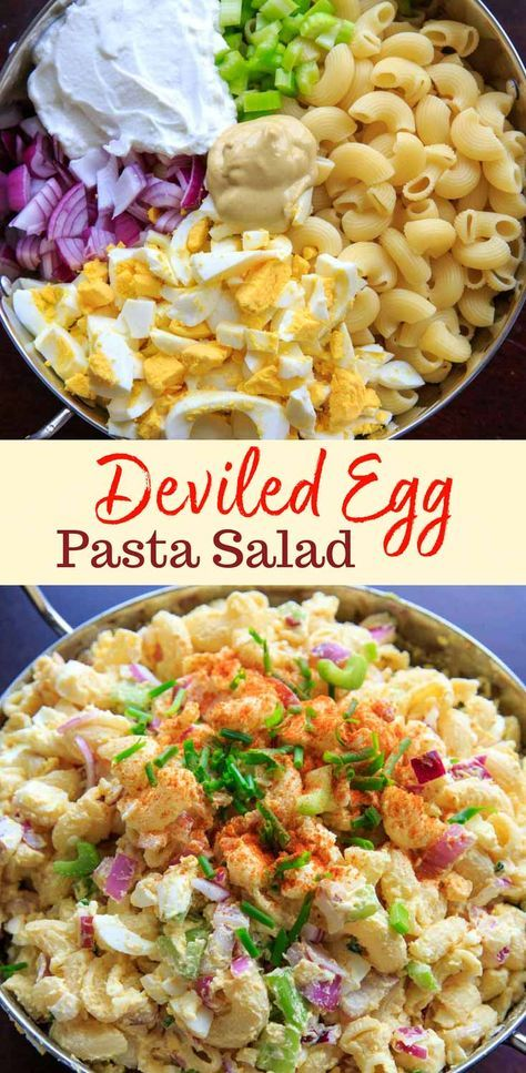 Check out the recipe for this deviled egg macaroni pasta salad! Light on the mayo and big on flavor, this dish is a hit at cookouts or summer gatherings! Great way to use leftover hard boiled eggs. #trialandeater #deviledeggs #eggs #pasta #pastasalad