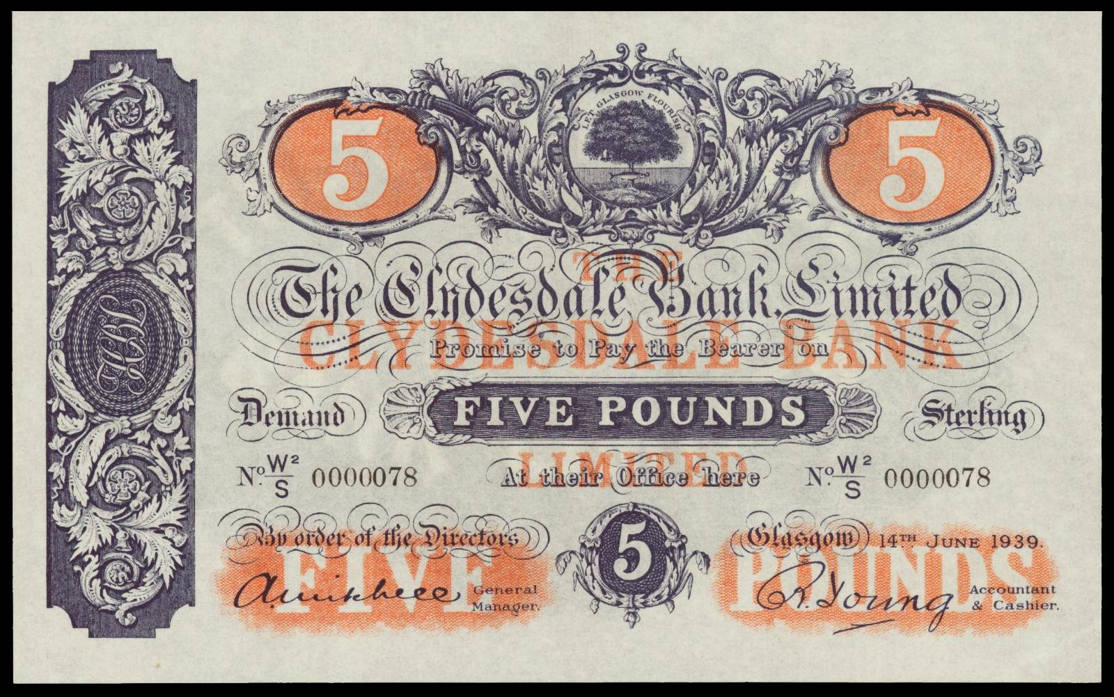 5 Pound Note 1939 Clydesdale Bank Limited World Banknotes Amp Coins Pictures Old Money