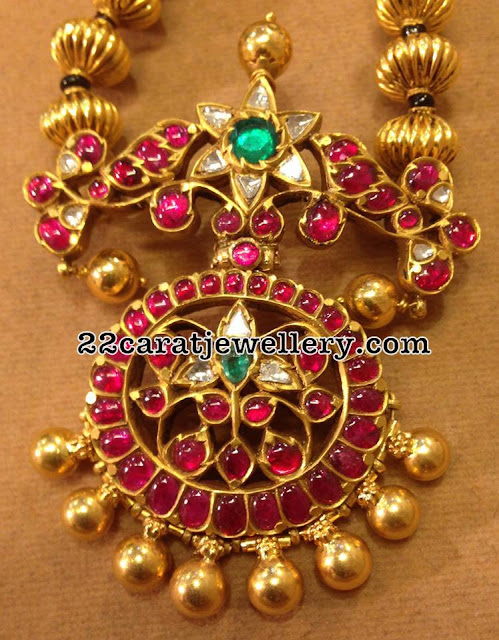 Ruby Pendant with Gold Balls