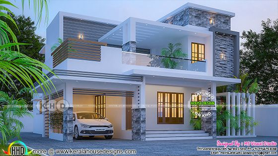 4 BHK stunning 2182 square feet Kerala home design