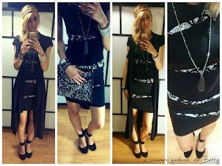 tenue de soirée lookbook chic glam noir et blanc black and white jus d'orange robe dress