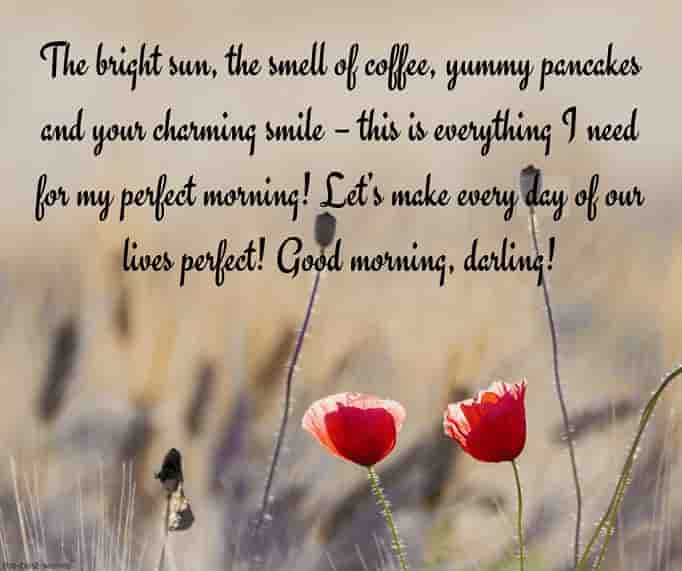 romantic good morning text message with beautiful field
