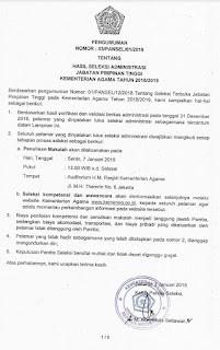 Hasil Seleksi Administrasi Jabatan Pimpinan Tinggi Kementerian Agama Republik Indonesia Tahun 2018/2019