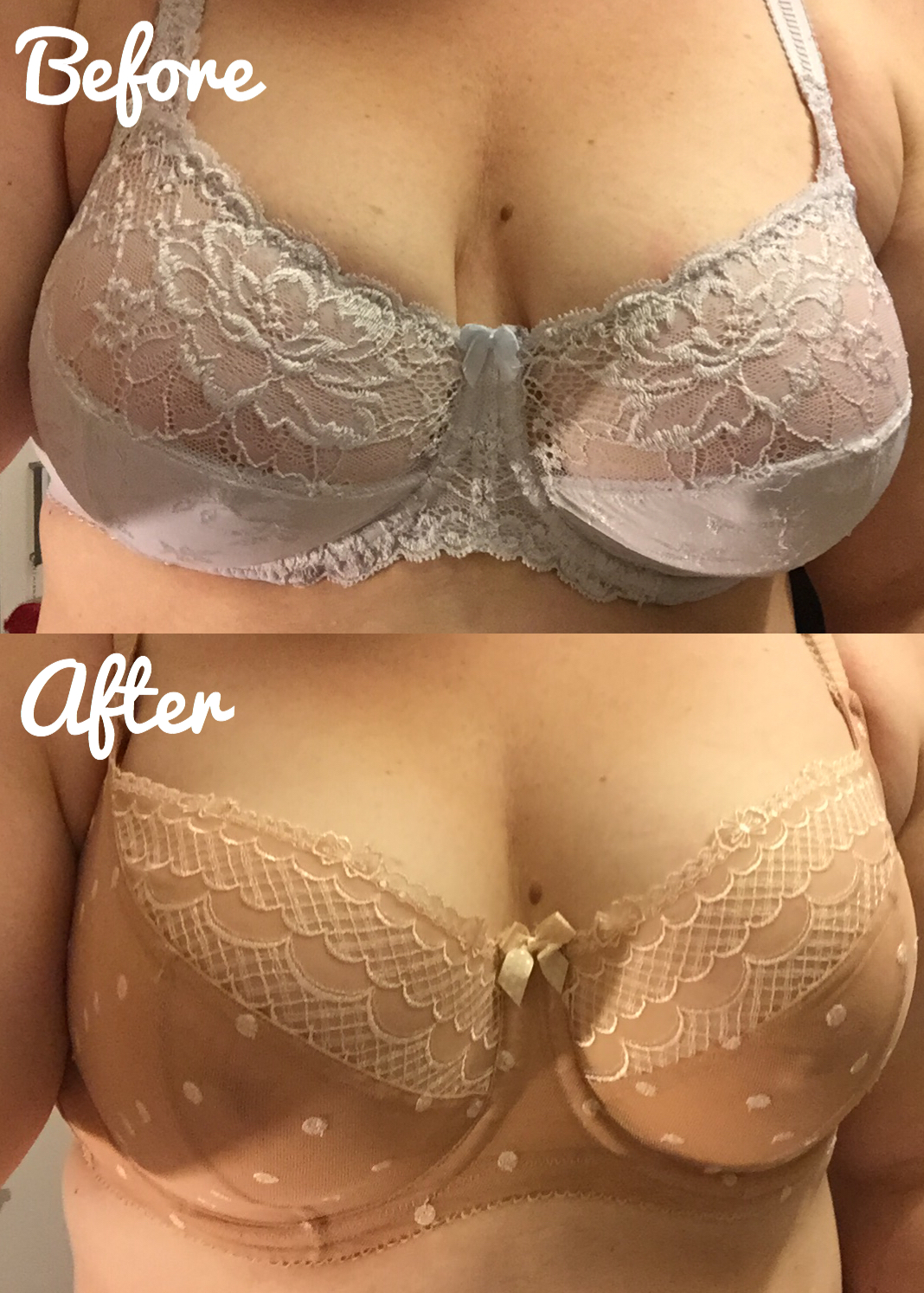 94c9aaf903a ... sizes and styles and their fitters are incredibly good at what they do.  And below you will see the results. I cannot believe the difference in my  bust.
