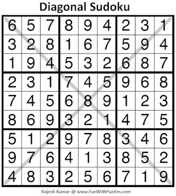 Diagonal Sudoku (Daily Sudoku League #176) Puzzle Answer