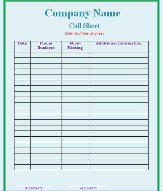 Call Sheet Template Small Call Sheet Template · Blank Face Charts - sample call sheet