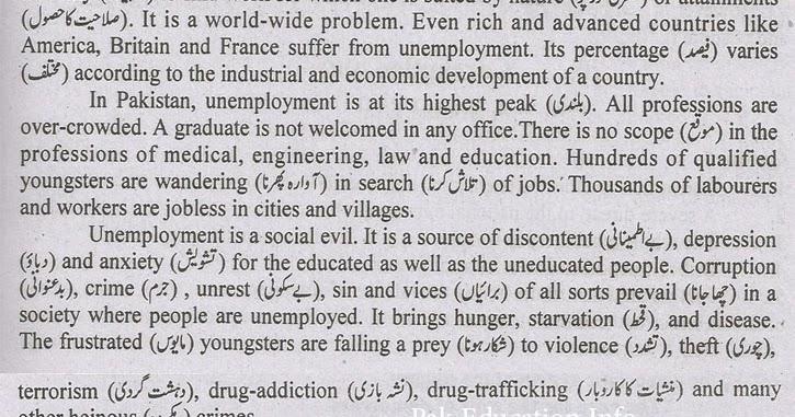 pak education info unemployment essay for fa fsc ba bsc students