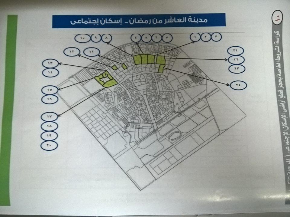 تحليل لأفضل الأماكن المطروحة فى قرعة اراضى الاسكان الاجتماعى فى العاشر من رمضان العاشر اون لاين