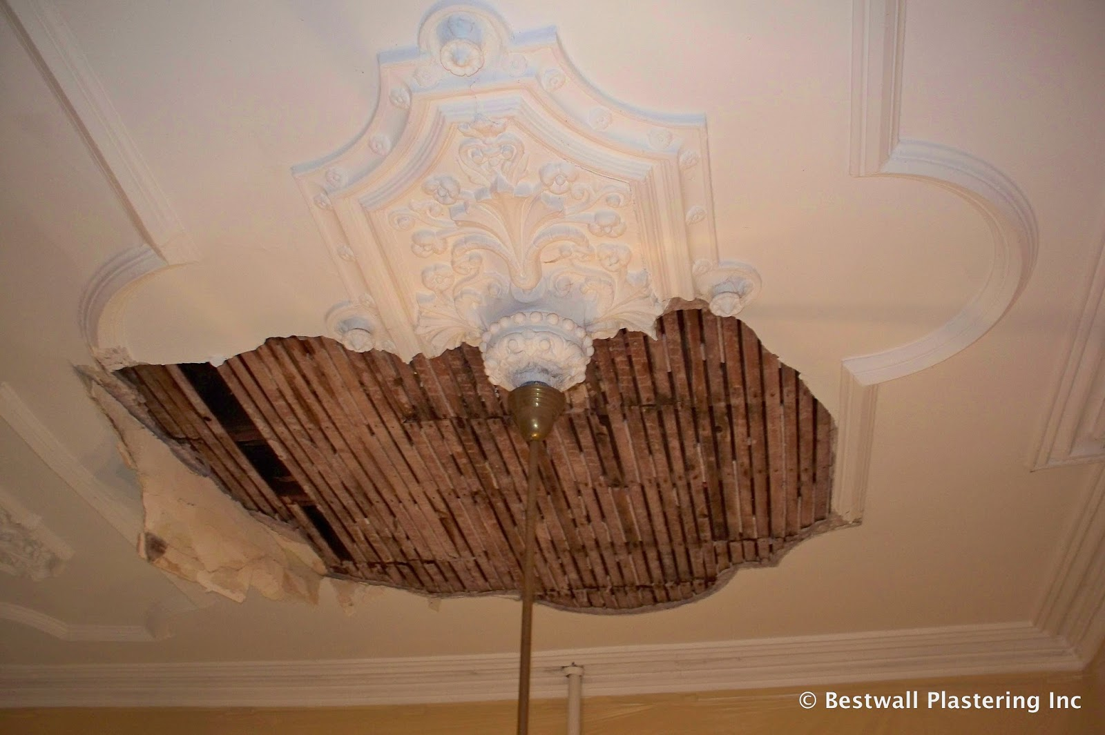 Ornate Plaster Ceiling Collapsed Caused By Water Damage