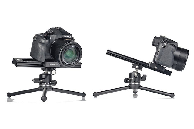Sunwayfoto M3 Micro Slide side with DSLR on T1A11 II tripod