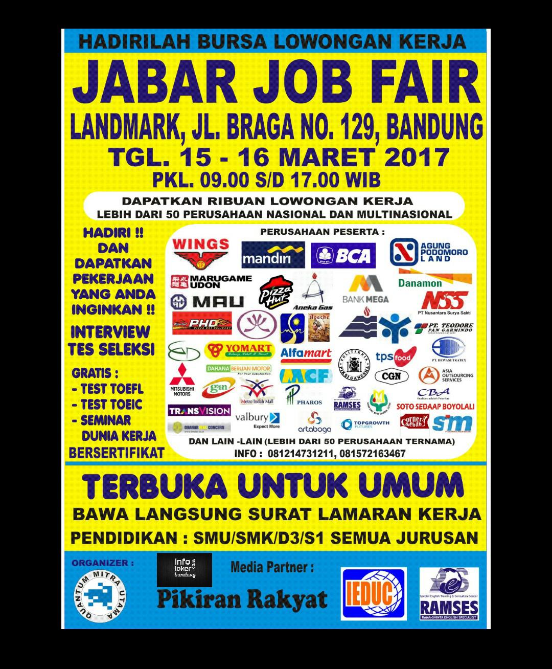 Jabar Job Fair 15 - 16 Maret 2017